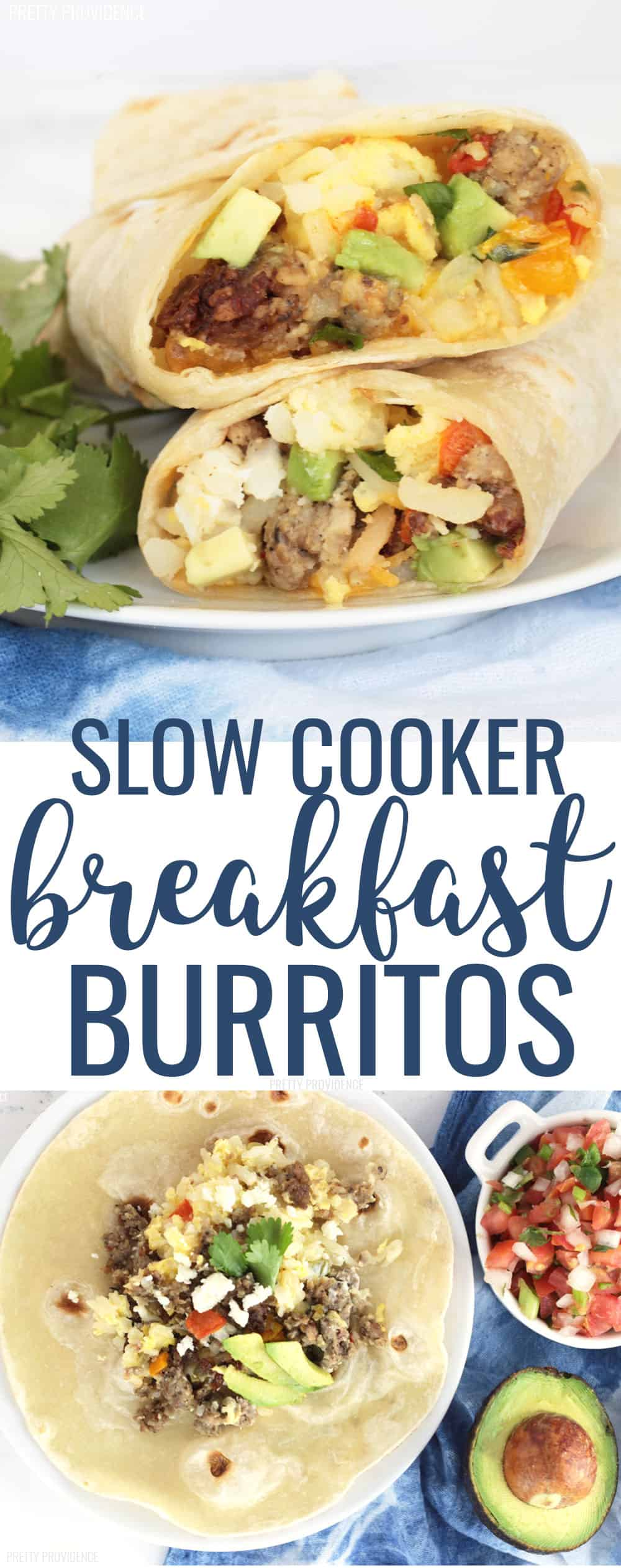 Slow cooker breakfast burritos are the perfect overnight crockpot breakfast recipe! These are DELICIOUS, easy and perfect when you need to feed a crowd! They are also great for stocking your freezer! #slowcookerbreakfast #slowcookerbreakfastburrito #breakfastburritorecipe #breakfastburritos #breakfastrecipes #easybreakfast #breakfastideas #feedacrowd #easyrecipe #crockpot #crockpotrecipes #slowcooker #slowcookerrecipes