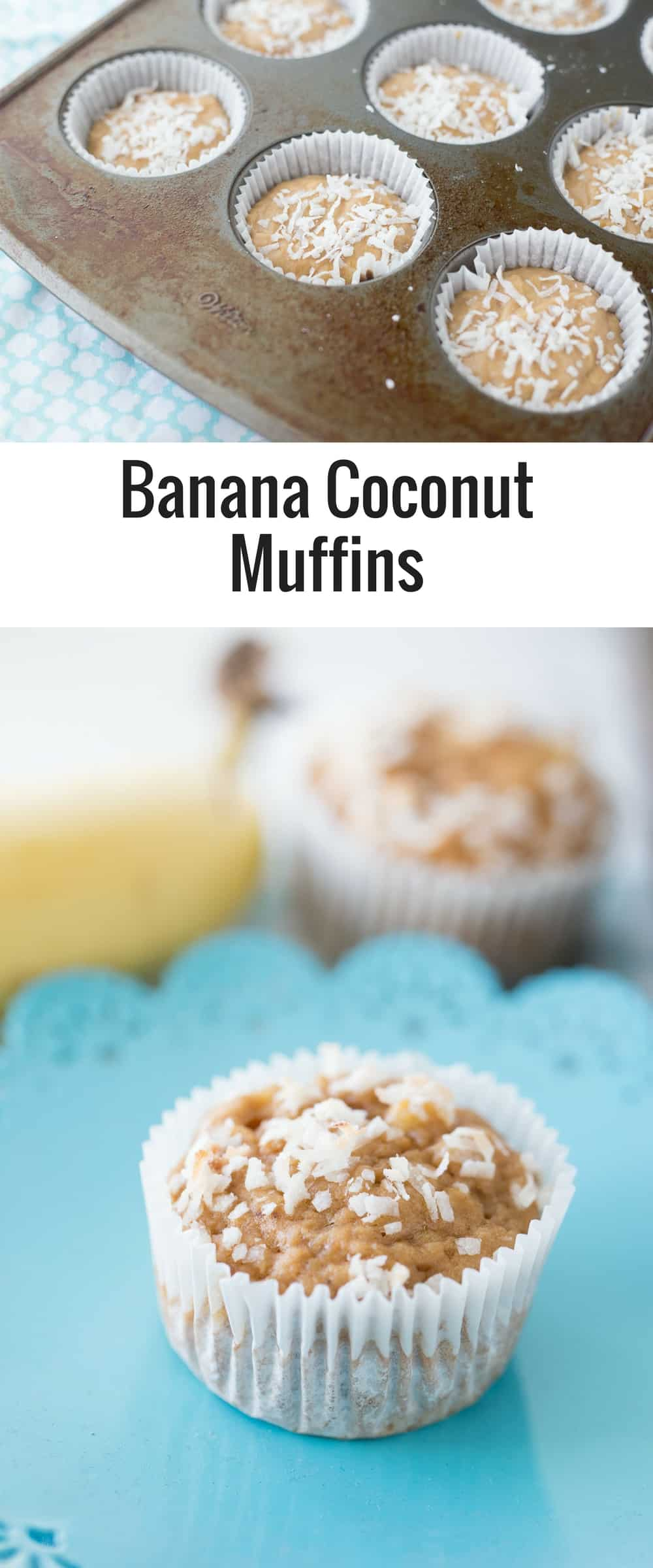 These Banana Coconut Muffins are delicious and simple! Coconut sugar and applesauce makes muffins something you can feel a little less guilty about!