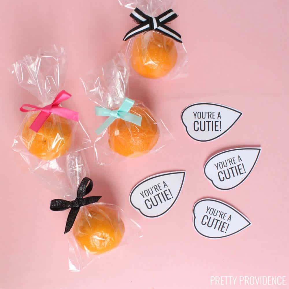 These Cutie Valentine printables go perfectly with a clementine or mandarin orange for a healthy non-candy Valentine idea!