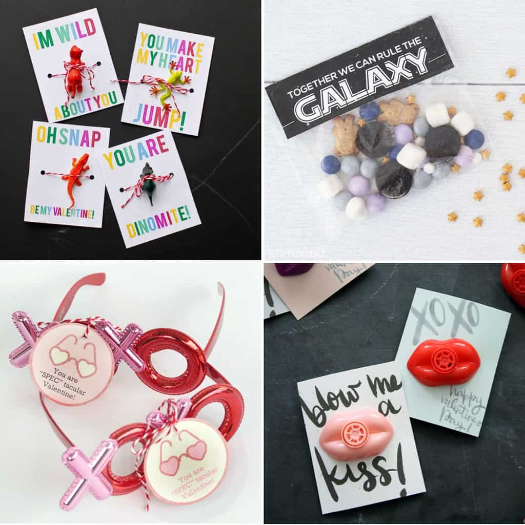 Free Valentine Printables collage, dinosaurs and toys, glasses, lip whistles, and star wars valentines with snack mix.
