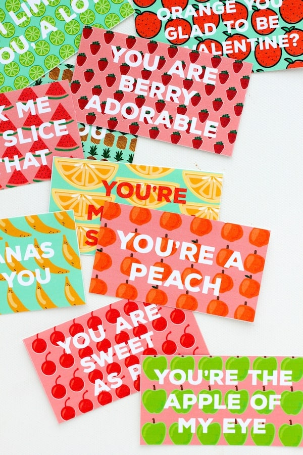 Free Printable Fruity Valentines from You are my Fave