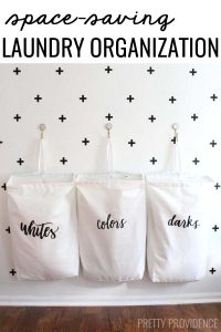 DIY Space-saving laundry organization! So pretty AND functional!!?