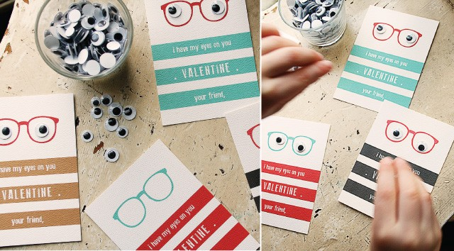 printable Valentines cards with googly eyes and glasses on them.
