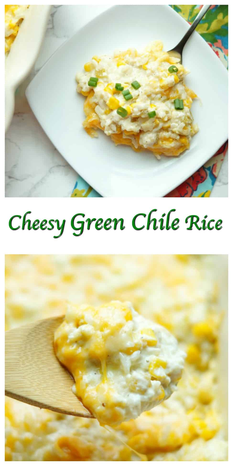 This Cheesy Green Chile Rice is creamy, cheesy, and so tangy from the green chiles! This will definitely be one of your family's new favorite side dishes!