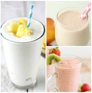 A collage of three yummy smoothie recipes.