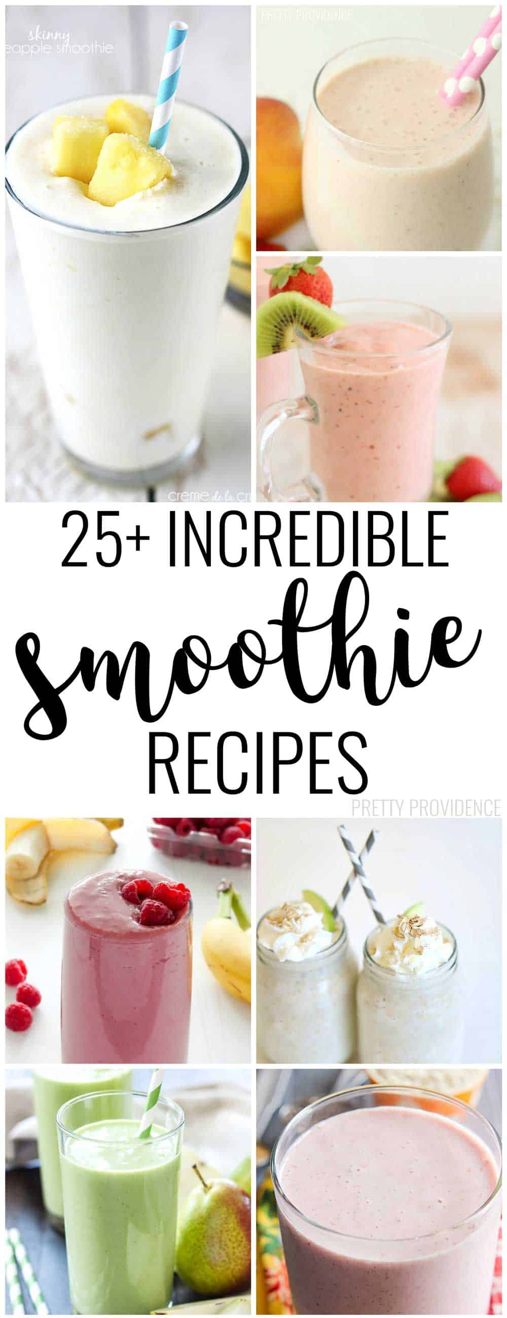 There are some AMAZING smoothie recipes in here! Strawberry, peach, oatmeal, pear or blueberry smoothies - you name it, I've found one for you!