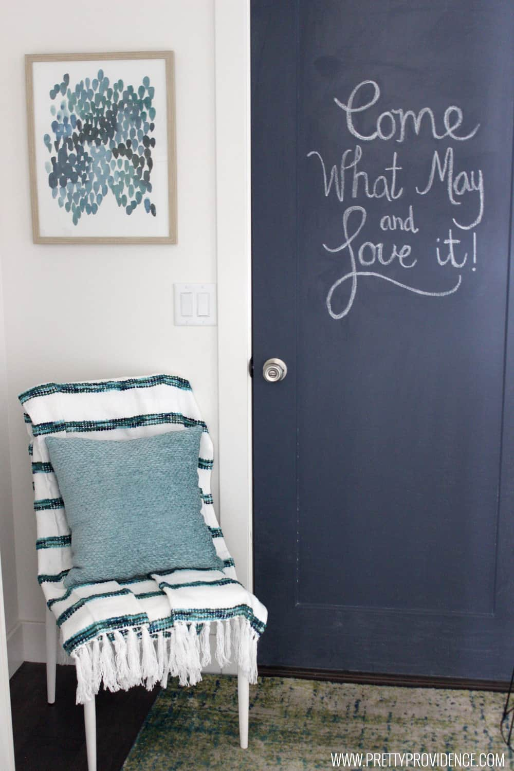 How to paint a chalkboard door! I love this super easy tutorial! So fun & How to Paint a Chalkboard Door