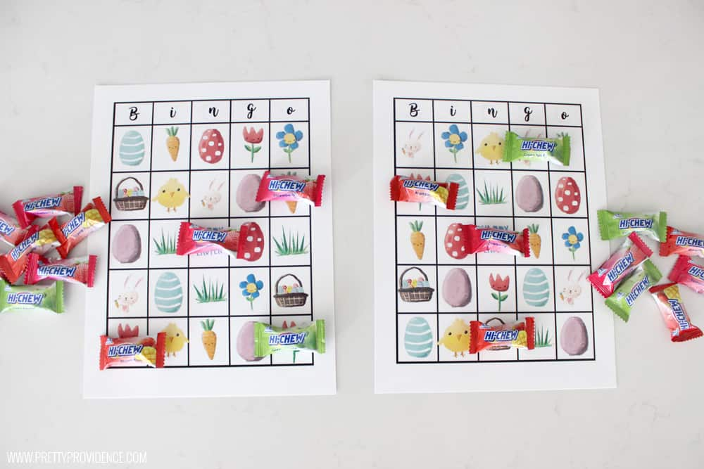 Free Printable Easter Bingo! Perfect for class parties, church classes, or just to keep the little ones entertained during Sunday gatherings! So easy to set up and the kids will LOVE it!