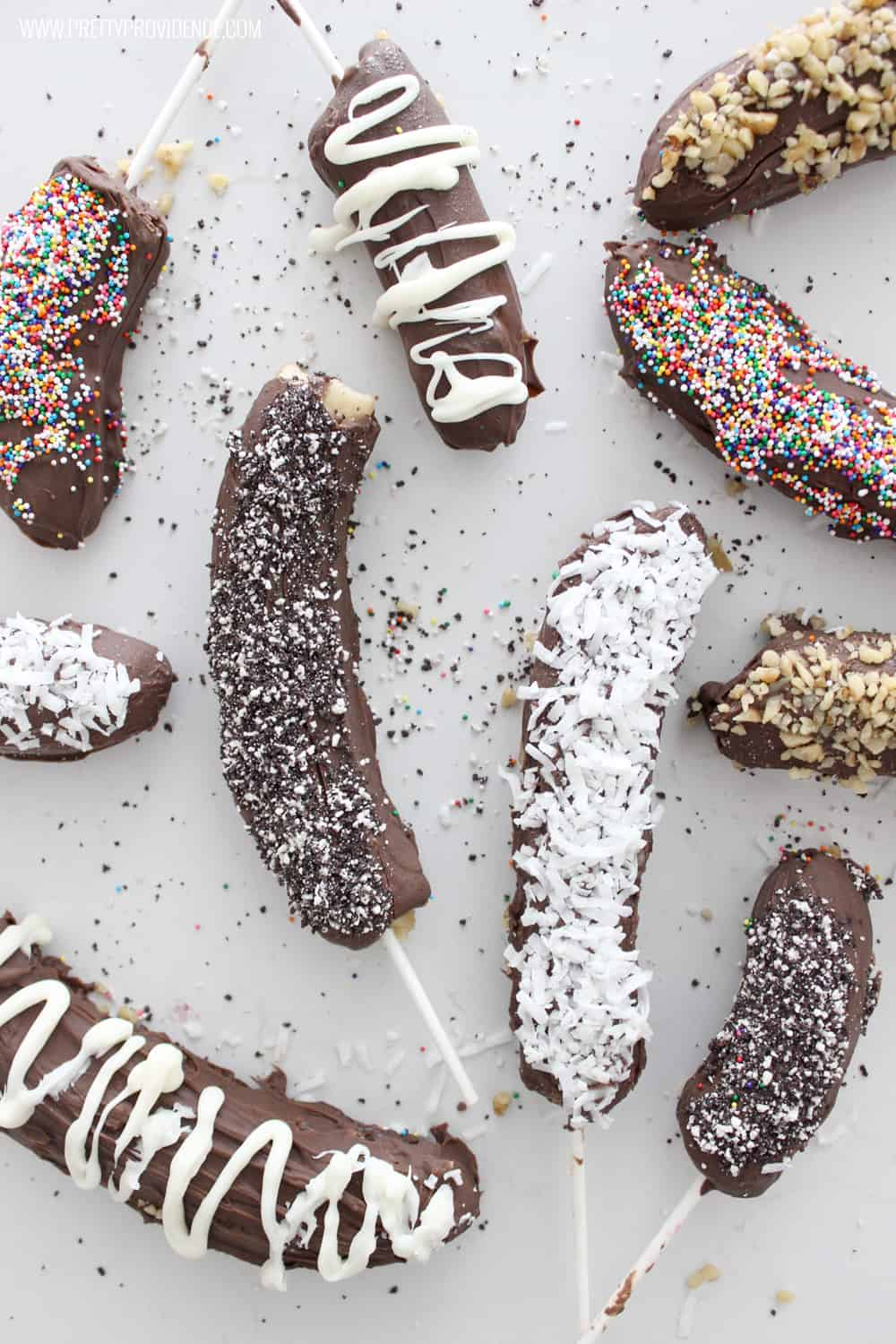 Not only are these frozen chocolate covered bananas easy to make, they are freaking delicious! Such a fun summer treat, and lots better for you than a regular ice cream bar!