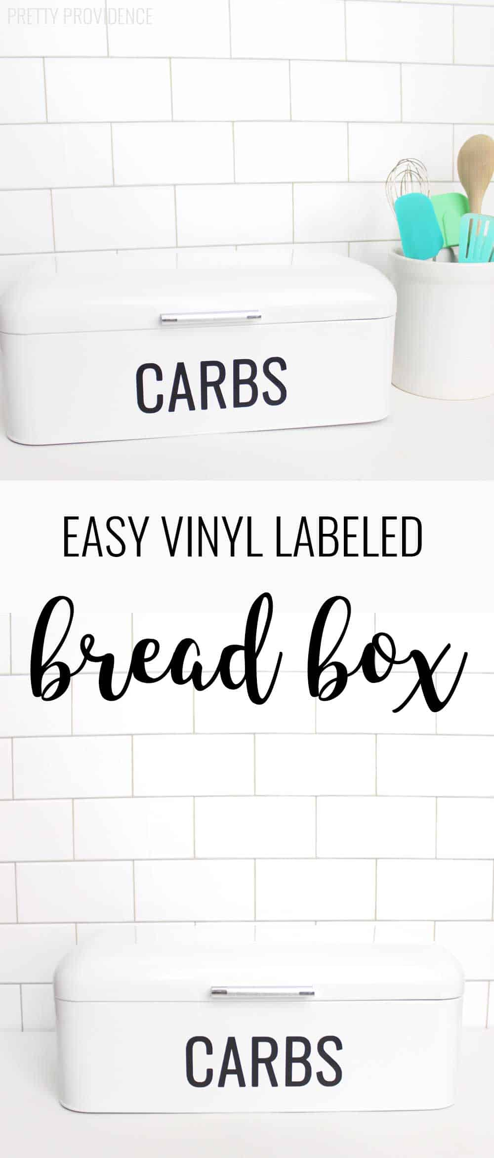 Carbs are my love language! haha! So easy to make your own bread box like this with some vinyl!