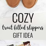 Slippers filled with small treats and gifts with a black ribbon tied around them