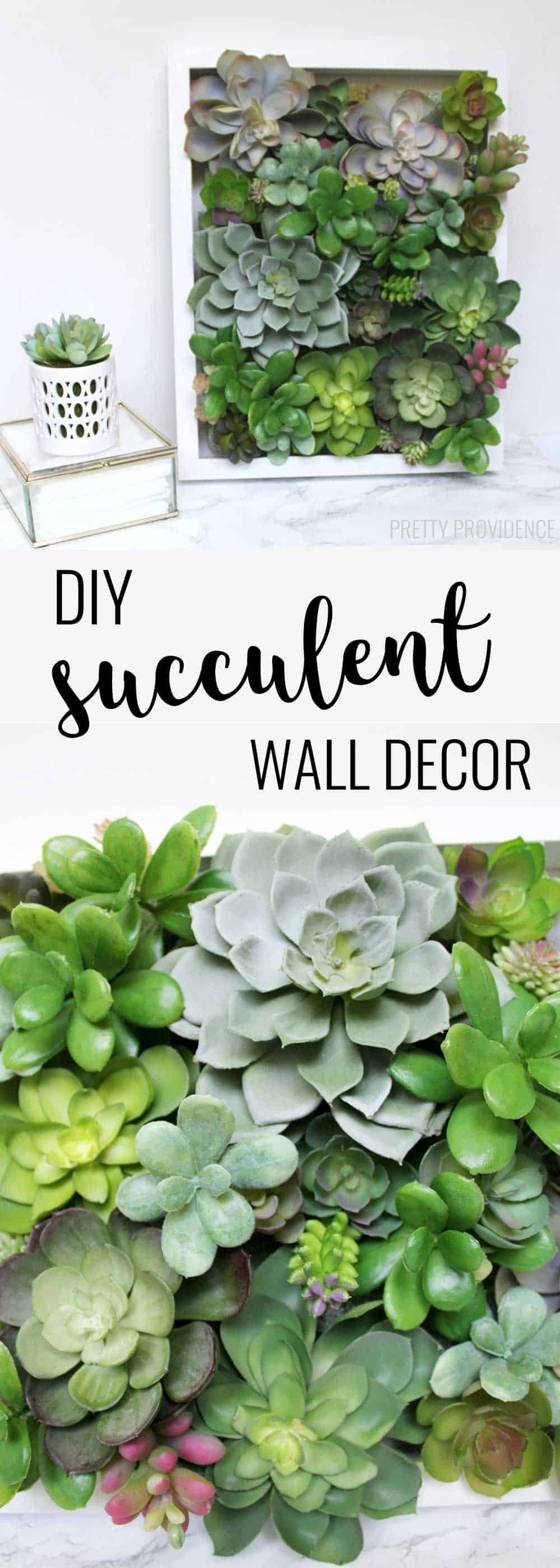 I love decorating with succulents and this easy succulent shadow box decor is perfect! So pretty!