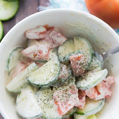 Creamy Tomato & Cucumber Salad