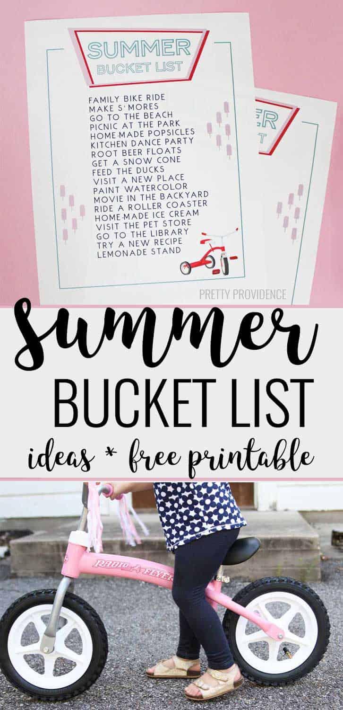 Summer bucket list ideas and free printable!