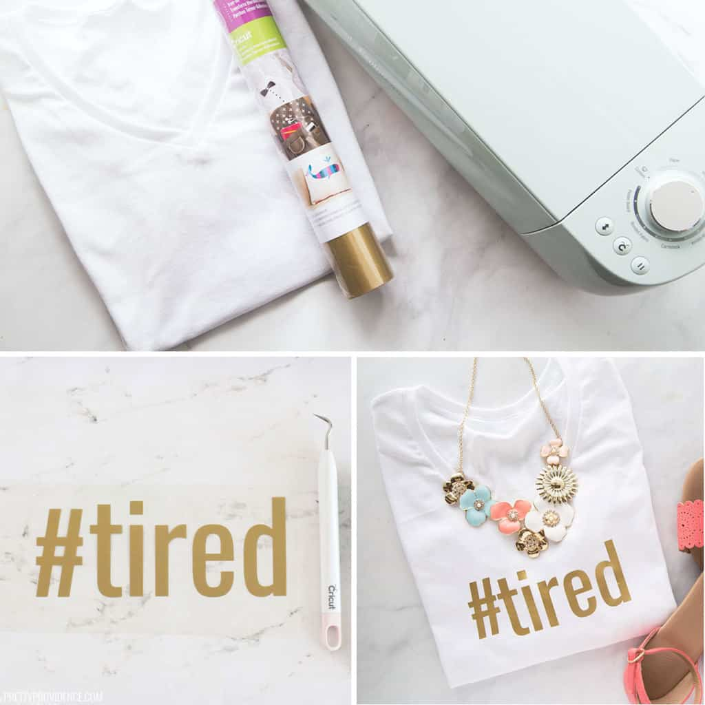 Iron-on t-shirt Cricut tutorial collage - materials needed, gold iron-on weeded, and final t-shirt with word '#tired' on it.