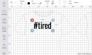 design on a t-shirt template in Cricut Design Space software