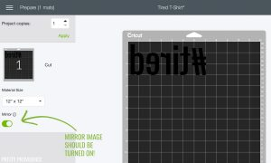 Mirror image option turned on in Cricut design space software