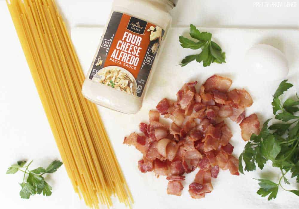 This easy spaghetti carbonara recipe is creamy and delicious - you can't go wrong with bacon and pasta!