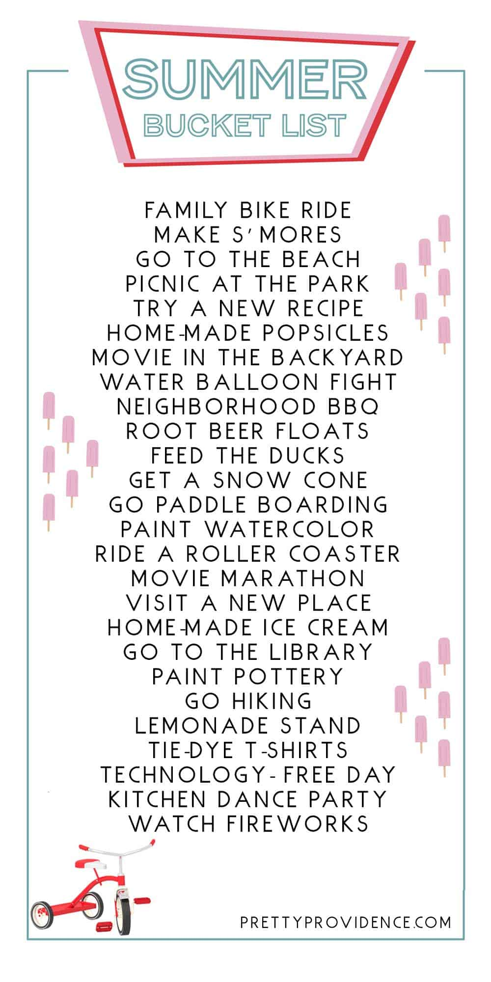 Summer Bucket list ideas + FREE printable to use!