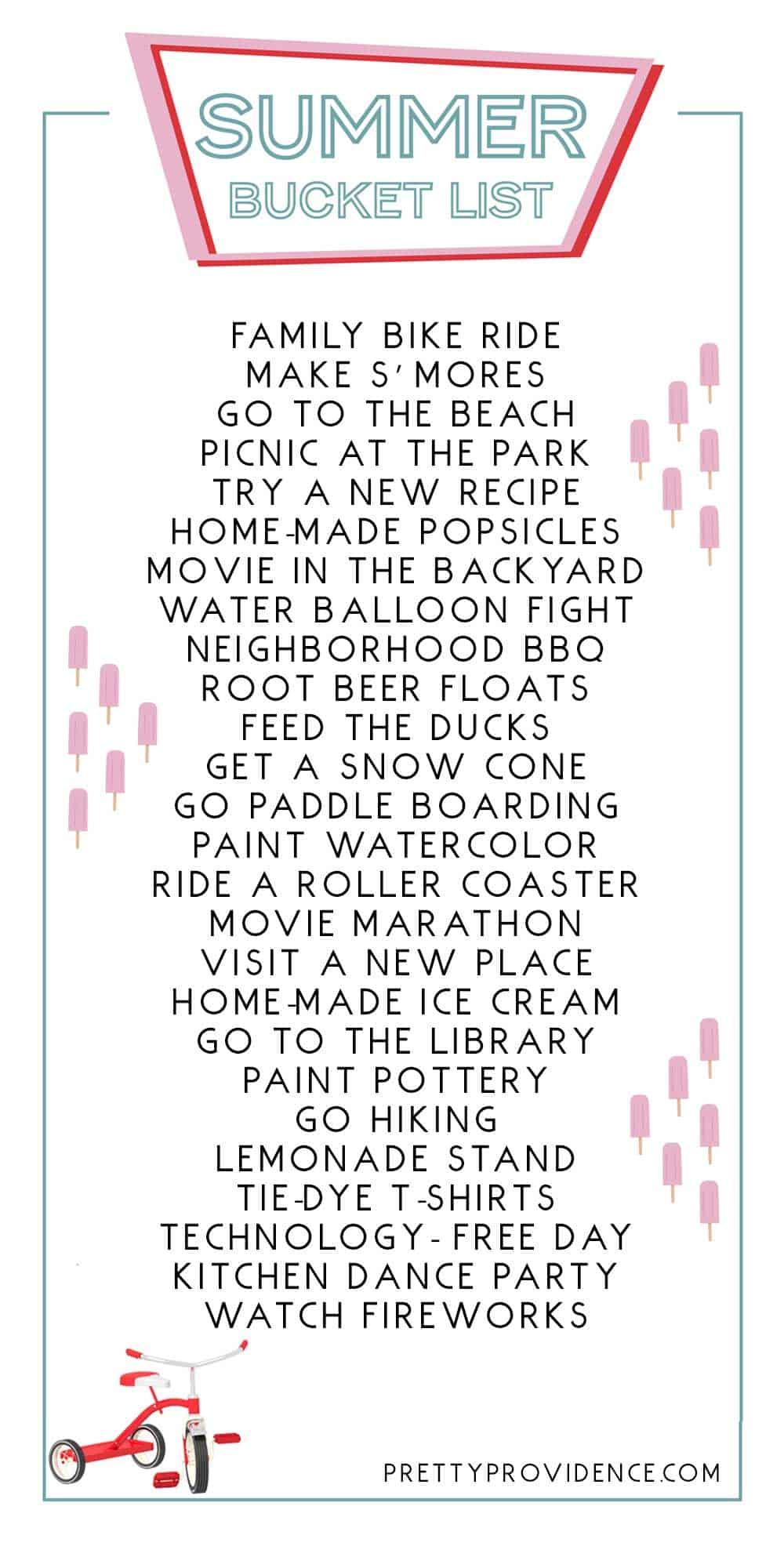 Summer Bucket list ideas + FREE printable to use!