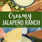 Jalapeño Ranch dip in a bowl collage