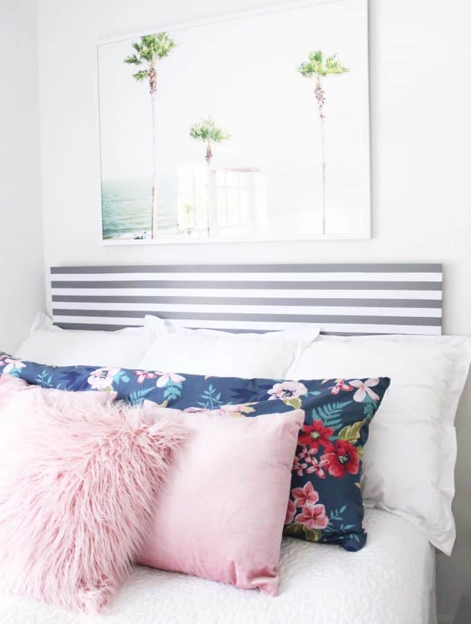 This IKEA hack headboard is SO easy, and under $50 to make!