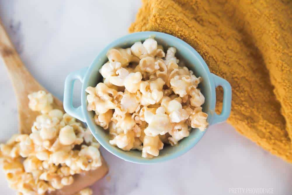 Easy soft caramel recipe for perfect caramel popcorn, ice cream topping or dipping! Only takes four ingredients and a few minutes to make!