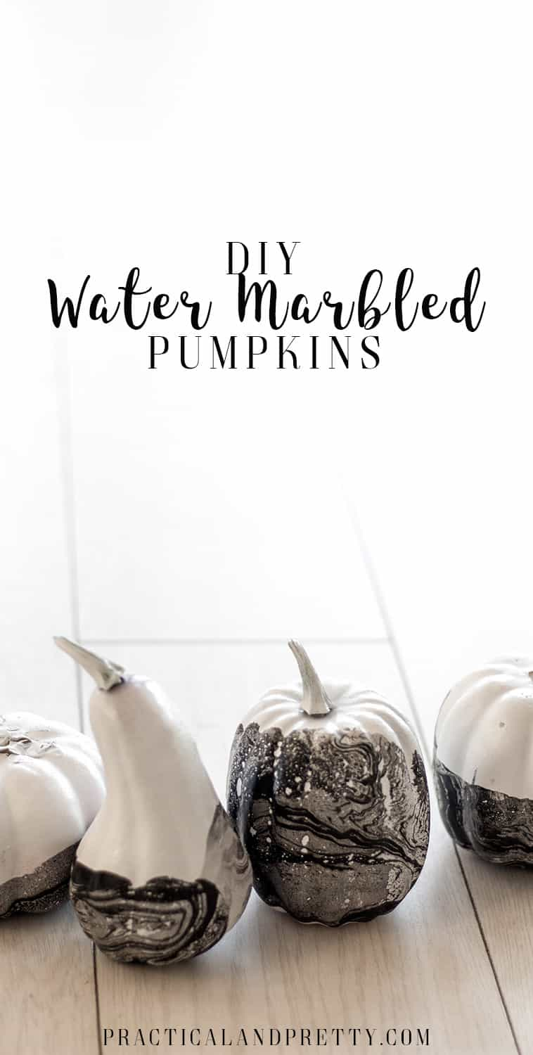 Water marbling is the quickest, simplest way of making something look so nice! I loved making over these little dollar store pumpkins.