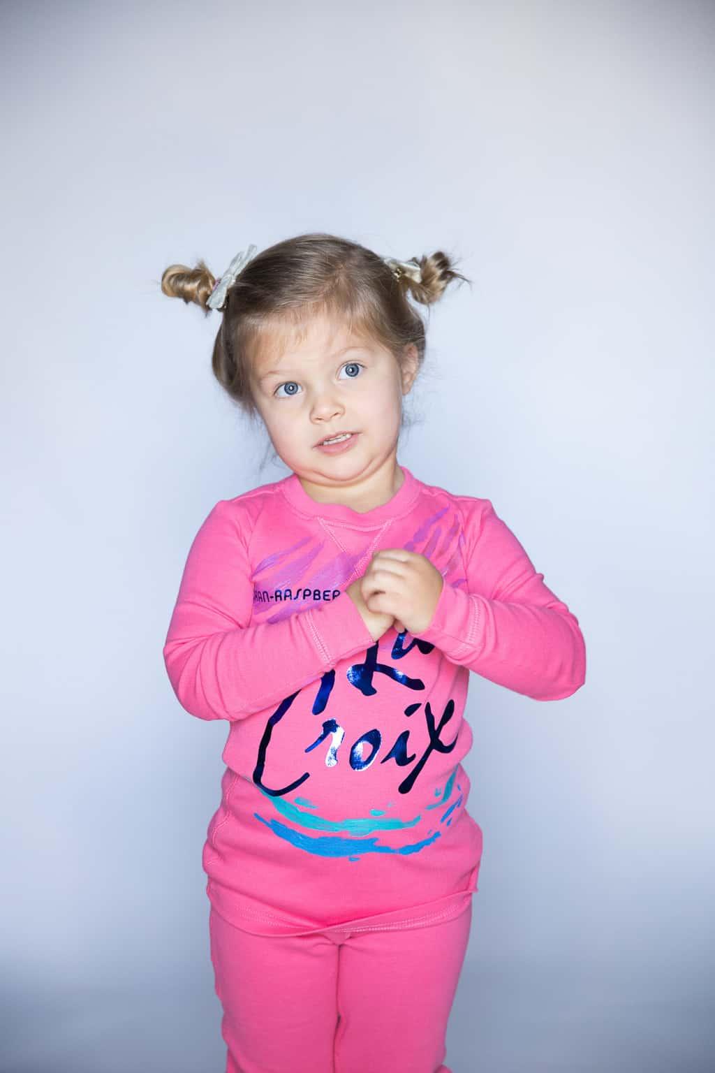 La Croix costume pink pajamas and iron-on tutorial at TaylorMadeCreates.com