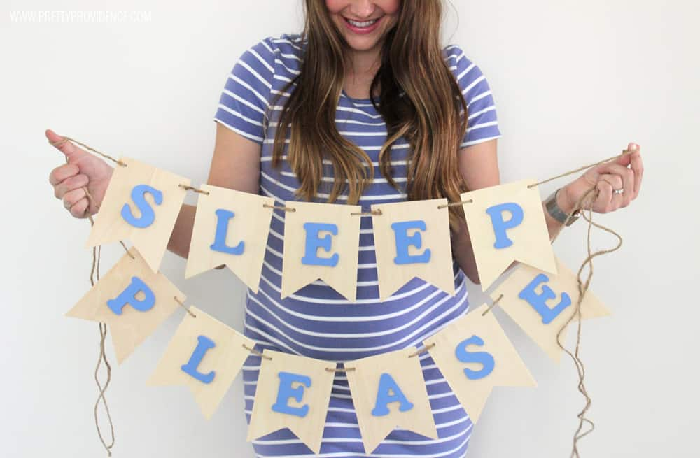 Loving this easy DIY nursery banner for under $15.00! You could totally customize it to say whatever you wanted, too!