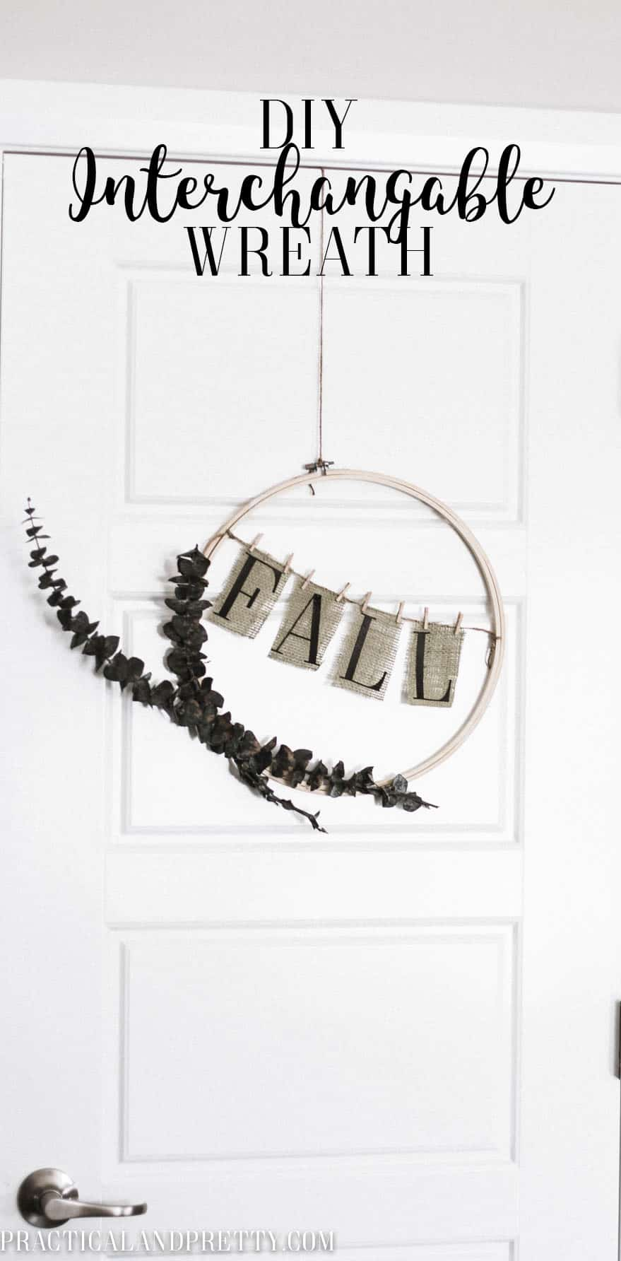 This interchangable wreath is perfect for fall, spring and everything in between! All you need is an embroidery hoop and some foliage.