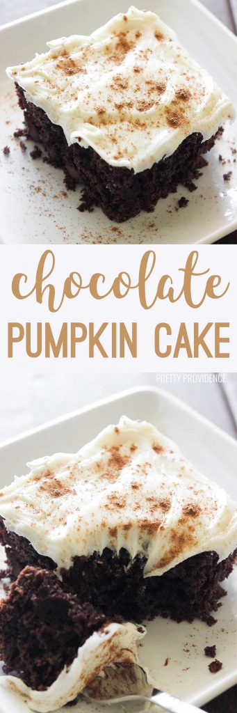 Oh my goodness this chocolate pumpkin cake is INCREDIBLE! The frosting too! You can't beat it!