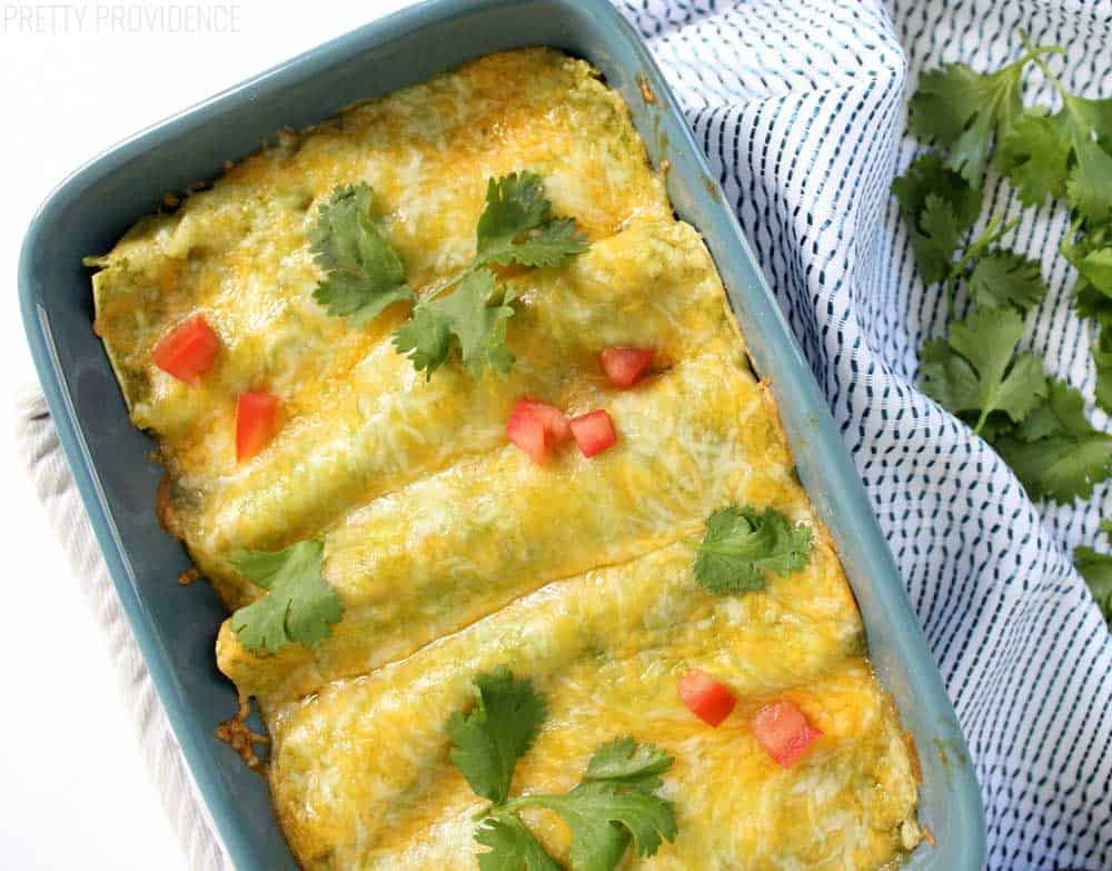 These healthy ground beef enchiladas are delicious, cheesy, and full of flavor!!