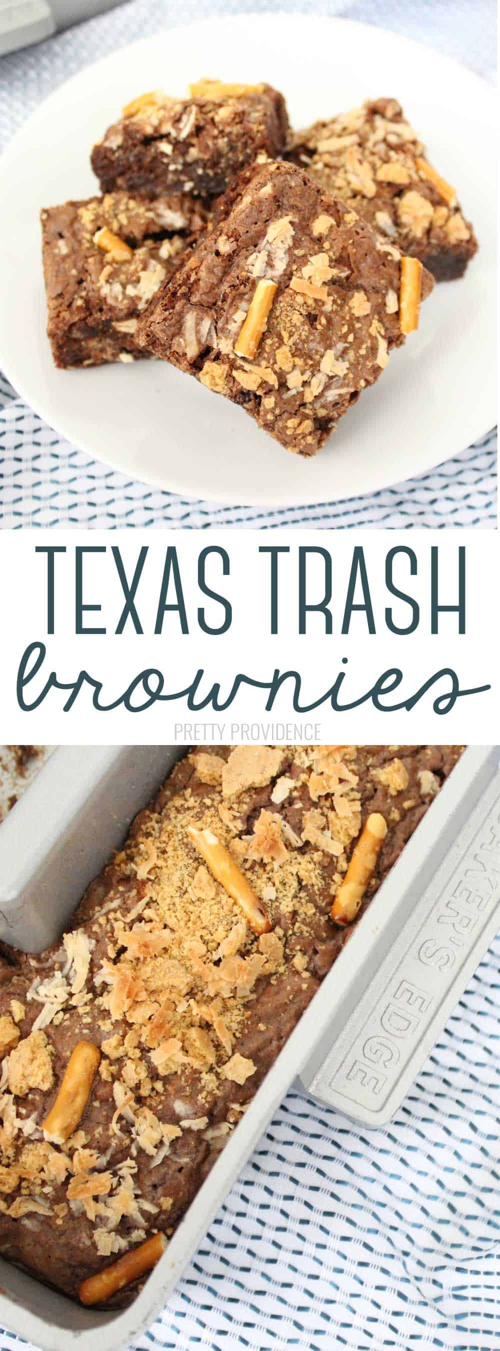 TEXAS TRASH BROWNIES - brownies with mix-ins like pretzels, coconut, and caramel are easy and so good!