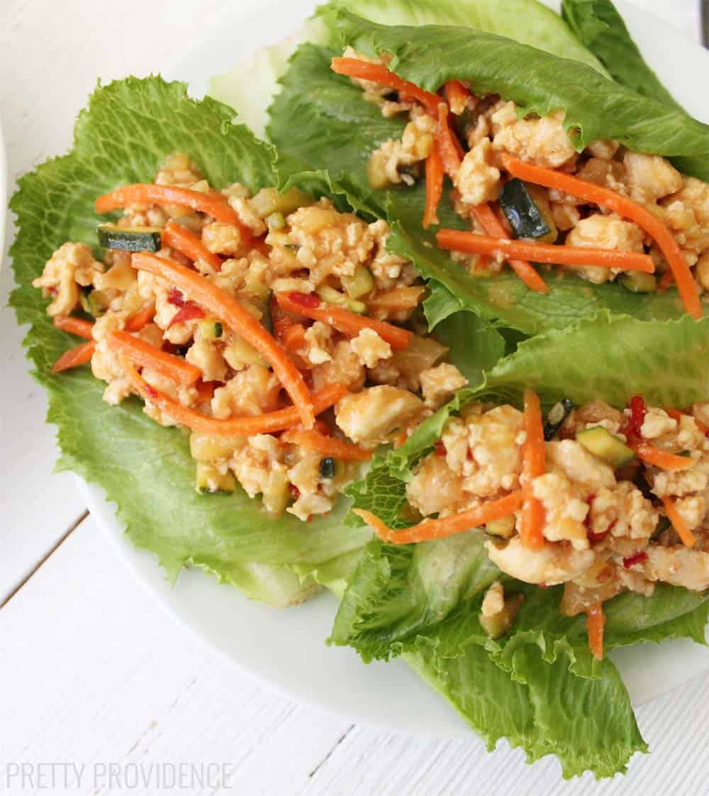 Thai Chicken Lettuce Wraps! These are super low calorie, healthy and SO delicious!