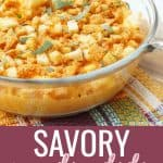 sweet potato casserole in a glass dish collage with text reading 'savory sweet potato casserole'