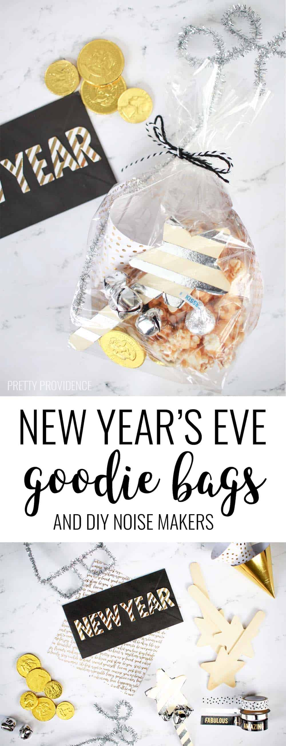 These New Year's Eve goodie bags are simple, fun and good for kids or adults! Filled with treats and noisemakers for NYE fun!