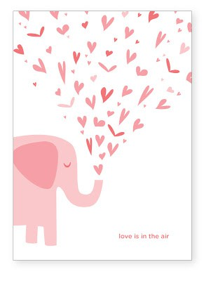 Cute Valentine Card with Elephant