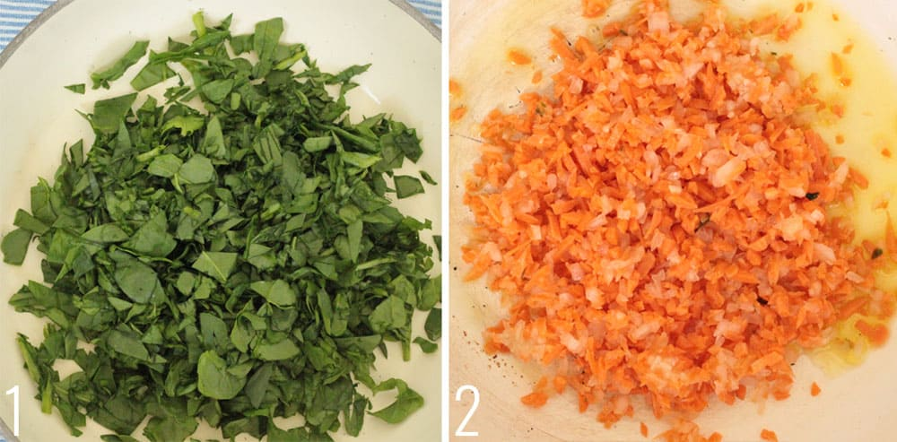 Healthy Veggie Dip steps - sautee spinach in a pan and sautee onion and carrot until transparent.