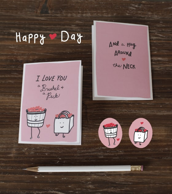 Free Valentines Printable I love you a Bushel and a Peck