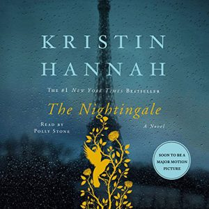 The Nightingale digital cover - the Eiffel tower and a yellow nightingale silhouette with flowers