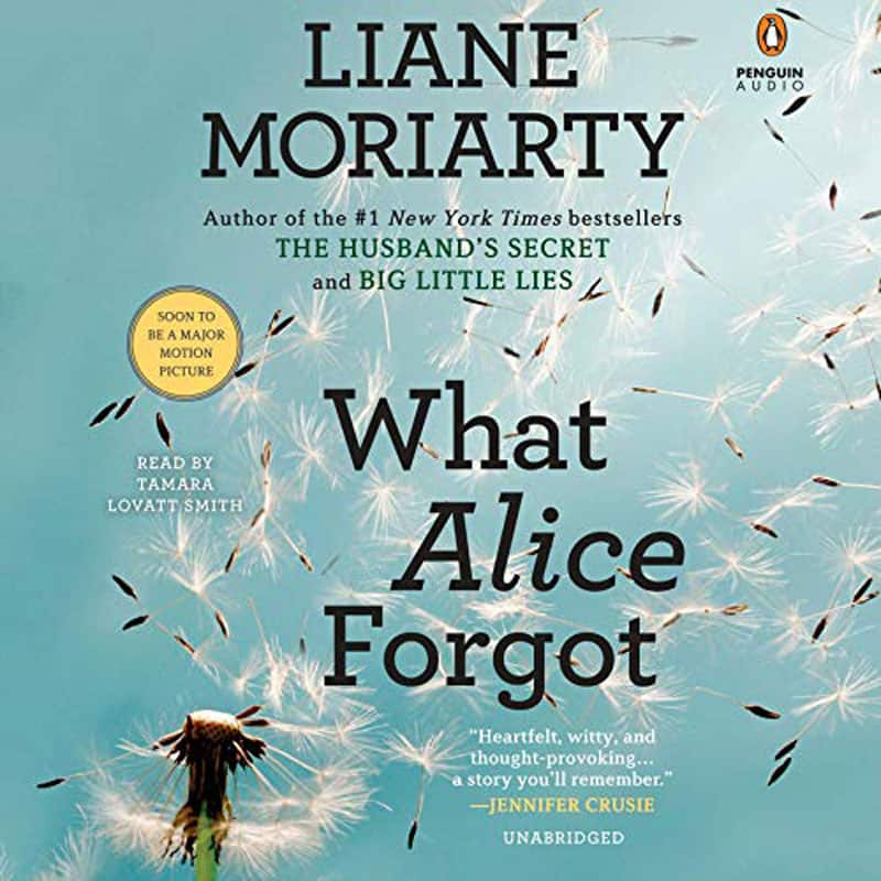 Digital book cover of 'What Alice Forgot' - a light blue background with dandelion seeds flying