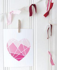 Geometric Heart Valentines Day Printable Decor