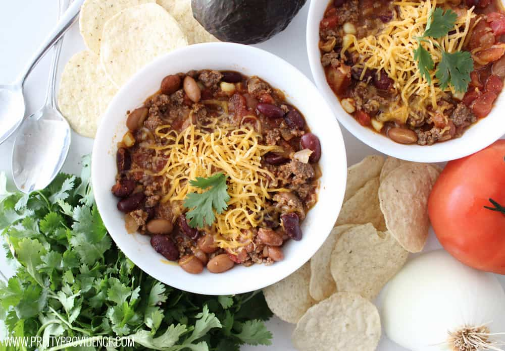 Taco soup is a staple at our house! Any meal that can be thrown together in five minutes, pleases everyone and is healthy to boot is an automatic win in my book!