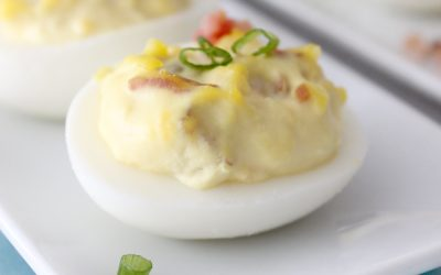 If you like deviled eggs you will LOVE these bacon and cheese deviled eggs! They disappear in a blink everywhere I bring them!