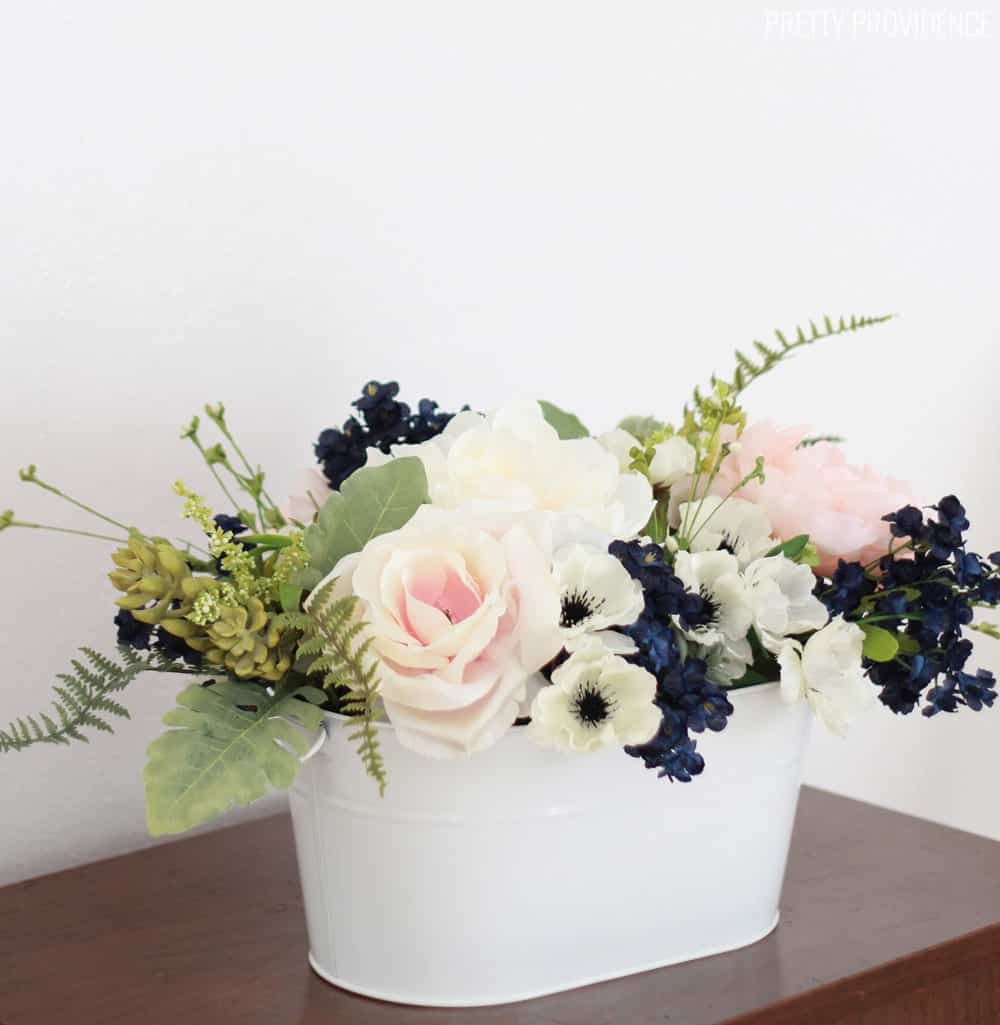 Navy Pink Peonies And Succulents Arrangement For A Wedding Or Spring Table