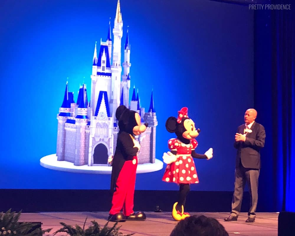 Bob Chapek, Chairman of Walt Disney Parks and Resorts with Mickey and Minnie