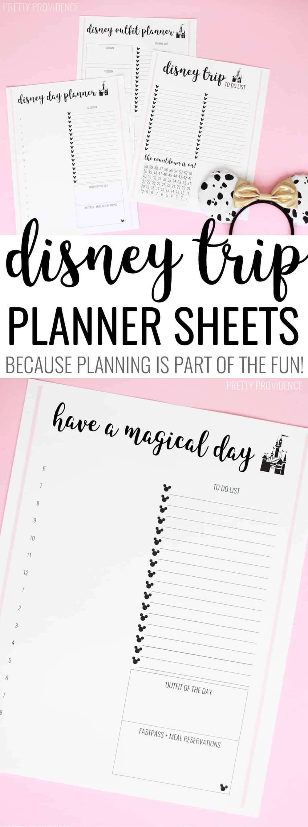 These free Disney trip planner sheets are so helpful when you're getting ready for a trip to Disney World or Disneyland!