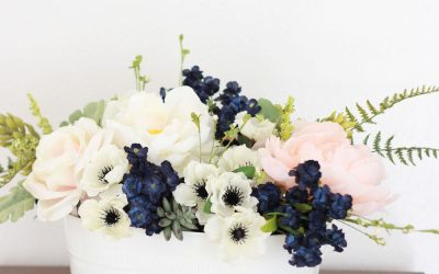 Navy, pink peonies and succulents arrangement for a wedding or spring table!
