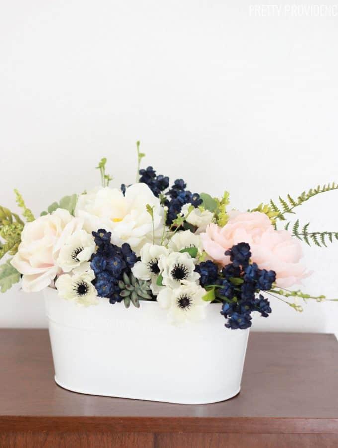 Pink & Navy Flower Arrangement